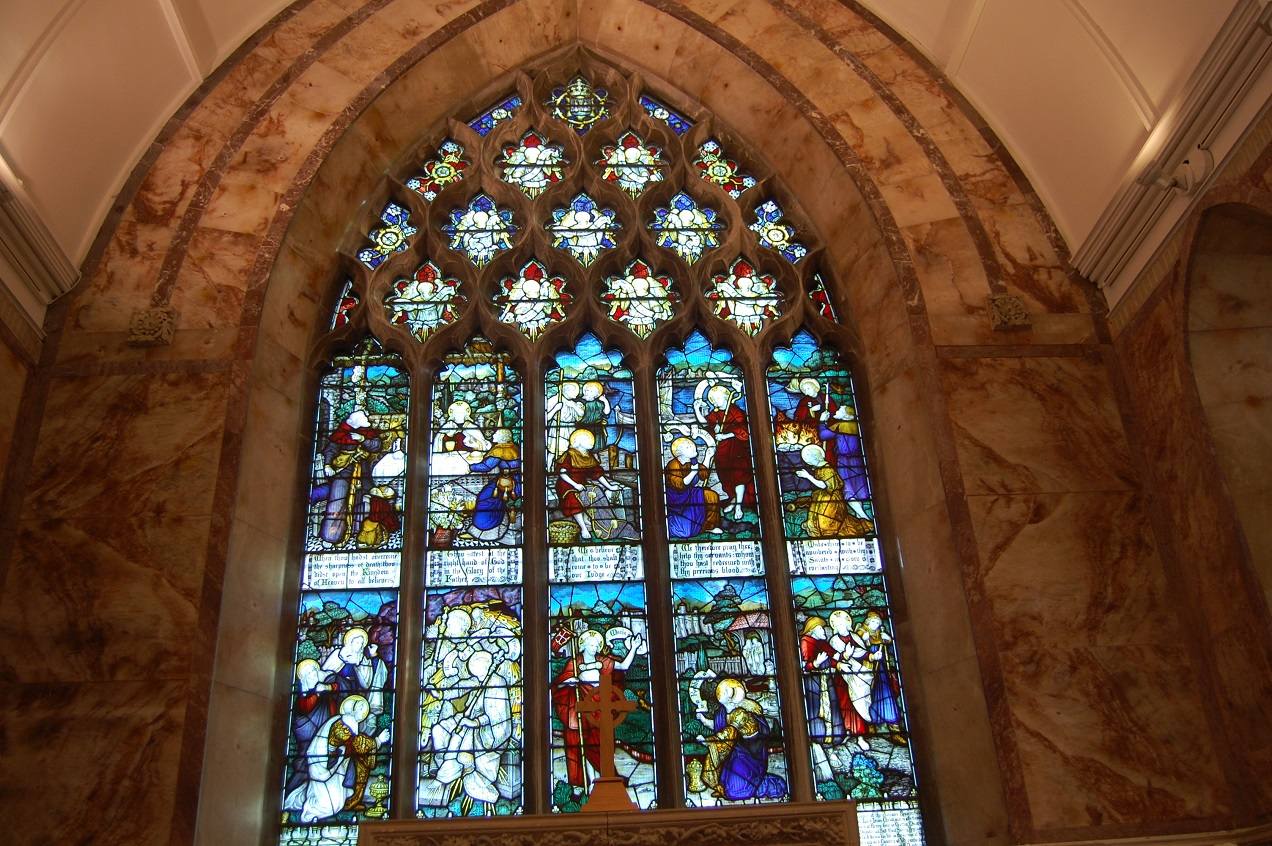 View of large stained glass window in Nun's Cross Church